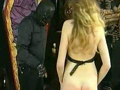 Hot flunkey with big tits gets clamps on her tis and pussy lip