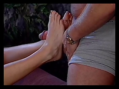 Two babes with foot fetish dildo fucking
