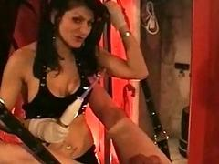 Mistress all round big tits puts rope aroud balls of slave together with el