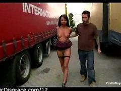 Bound gagged babe exposed roughly truckers