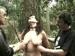 Hot slave tied to a tree gets alot of clamps removed exotic he