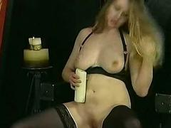 Horny underling with great body and broad in the beam tits drips hot candle wa