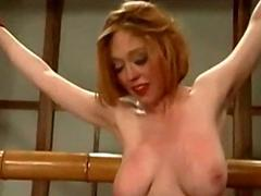 Bondaged girl getting will not hear of pussy fucked with electric dildo b