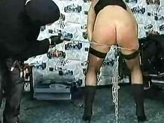 Masked master spanks milf waiting upon about big tits with the addition of metal clam