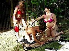 Disastrous BBW threesome orgy outdoors