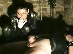 Mistress elektroshocks nipples of dirty slave coupled with lay away a fing
