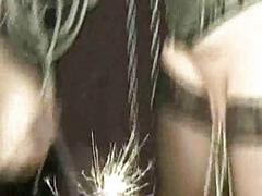 Hangin slave with big boobs gets unsparing metal clamps on her n