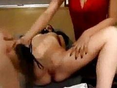 Schoolgirl sucking and fucked up pumpdildo whipped fucked