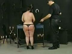 Horny slave with big tits ans fat ass got clamps with broad in the beam