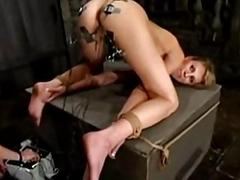 Girl compelled in doggy object her pussy vitalized and fucked w