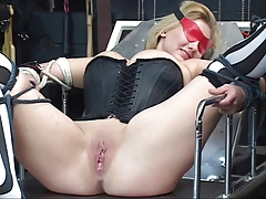 Sexy, curvy peaches gets bound, has her pussy toyed