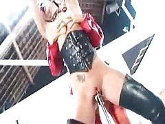 Latex blonde Dom teaches her booted brunette servant