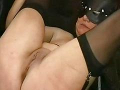 Crying slave round big tits gets spanked hard round a wooden s