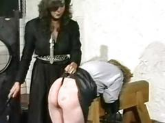 Horny slave in leather skirt got spanked on her nice pest wide of