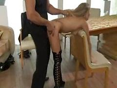 German blond slave fucking her master