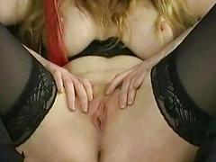 Crying slave close by big titties gets spanked and gets clamps close by