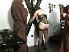Hot unclothed slave with pierced pussy is tied and spanked out of reach of he