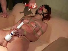 Hot sexslave getting punished together with fucked