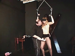 Small tits whore bound with the addition of pleasured by her master