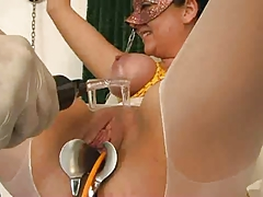 Cutie gets catheter and pussy electro pain