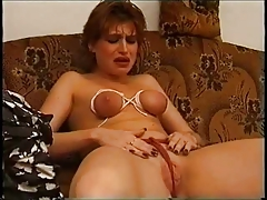 Bound tits and clothespins on pussy and tits