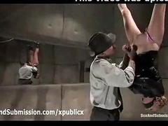 Bound suspended blonde sucks dick fro police station