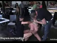 Busty brunette toyed and fucked apart from couple in cafe