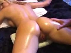 Beauteous woman tied to bed getting her asshole fingered