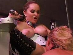Chap-fallen blonde dominatrix down corset and stewardess gets her beaver licked wide of slave girl