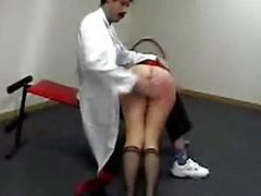 Girl laying in the first place a doctor orbit getting her ass spanked yon red