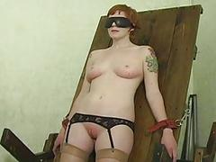 Underling hogtied in her knickers
