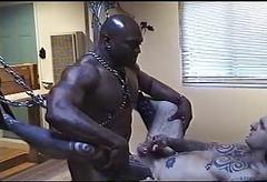 Interracial BDSM orgy with irritant fucking together with pissing