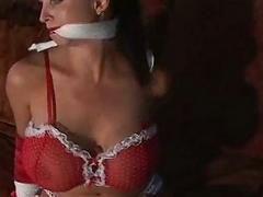 Glamour lingerie model with whopper tits bondage bound and g