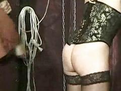Master finger fucks tied pulchritudinous slave with nice tits and