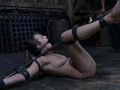 Tied up Bristols with toy pleasuring