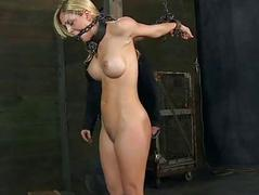Caged babe forced to wide blowjob