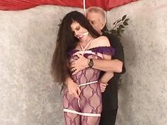 Naugty housewife villeinage of Donielle Hazard in ropes