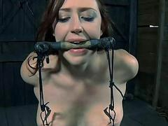 Lusty caning for tough piece of baggage