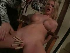 Classy mistress punishing shove around sex slave
