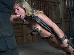 Caged up mollycoddle gets pleasuring