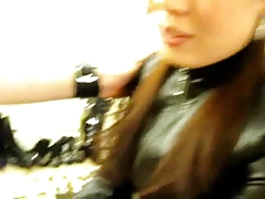 Jerk off by leather mistress