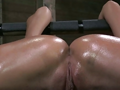 Strapped down wideness legs and fucked