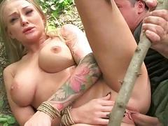 Wholesale gets tied up and fucked rough outdoor
