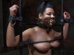 Caged up babe gets pleasuring