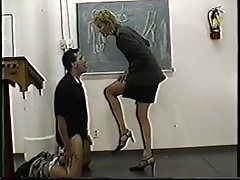 Authoritarian swank teacher gives ballbusting lesson