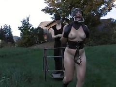 Babe in latex provide gets punished
