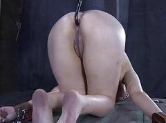 Caged up beauty needs chastisement