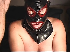 Covered SUBMISSIVE WHORE SUCKS COCK