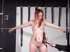 Redhead non-professional slaves inflammation and tied dungeon