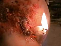 Bizarre blondes self tormenting hot waxing
